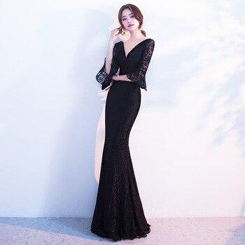 New Black Traditional Chinese Dress Qipao Ladies Evening Dresses Vintage Cheongsam Women Bride Long Cheongsam Modern Dress