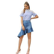 JYSS sweet womens tops and blouses short sleeve hollow out floral decoration blusas mujer de moda 2019 blue striped blouse 50038 jyss белый цвет