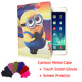 For Ipad air2 Ipad6 flip case cartoon minion despicable me design pu leather&tpu smart cover+screentouch gloves+screen protector