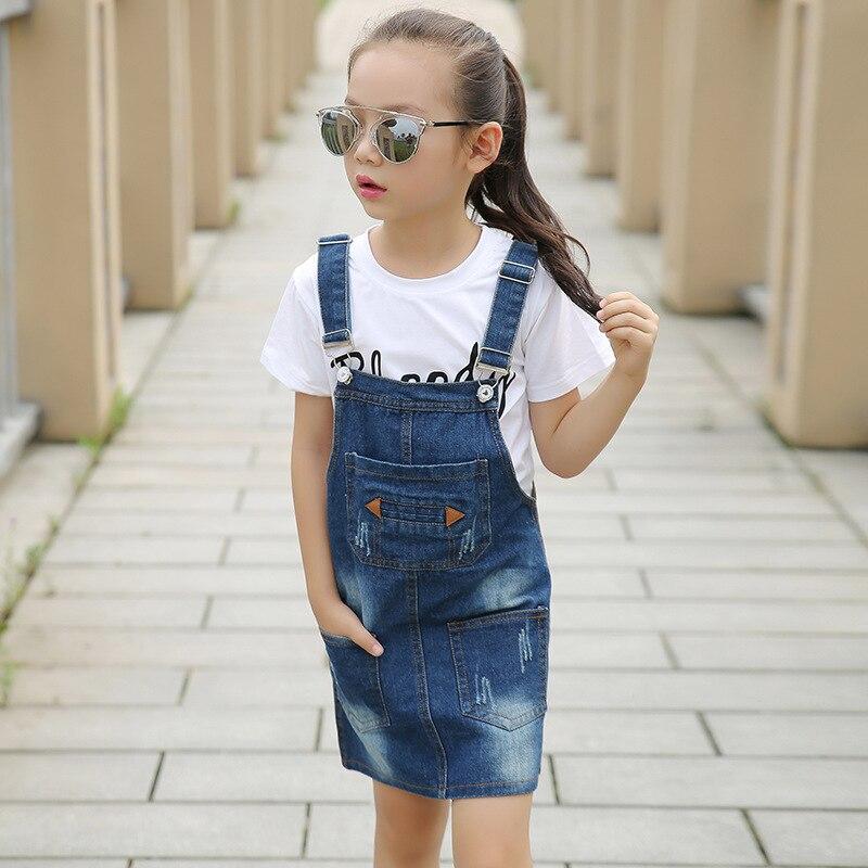 Enfants Filles Denim Dress Salopette 2019 Automne Style Enfants Fille Jean Bow Bretelles Enfants Vêtements Bébé Jeans Robe Infant Costumes fille