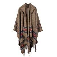 ヨーロッパレディカシミヤジャガードショール肥厚ストライプフード付きマントは長く冬の女性のスカーフ