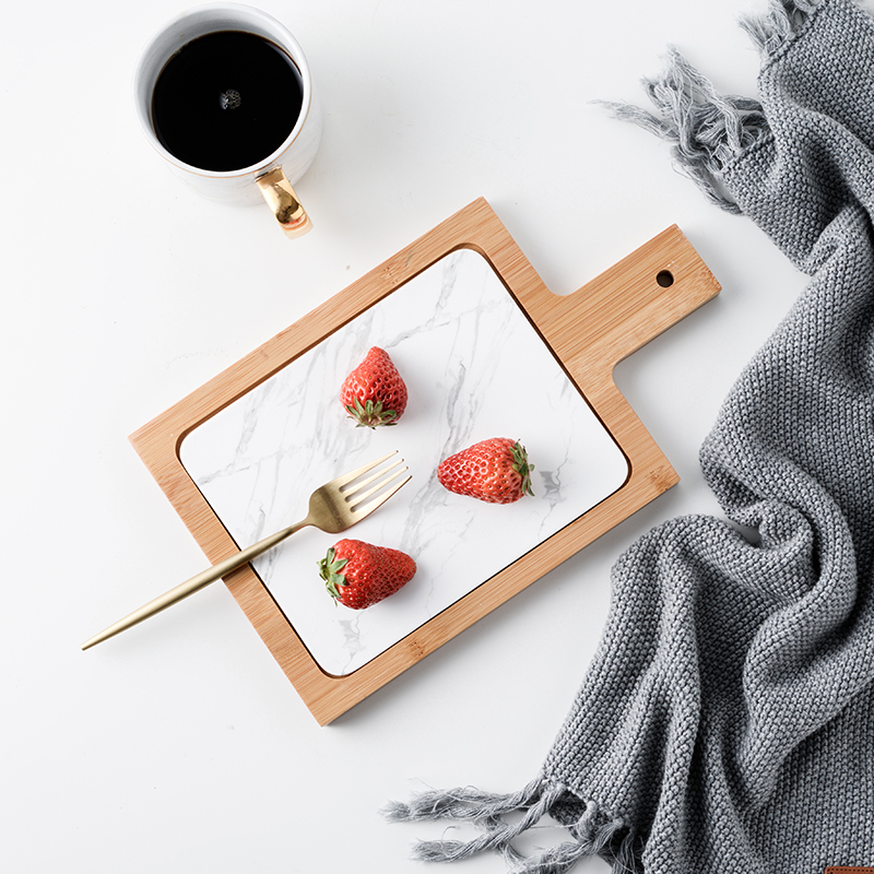 Nordic style ceramic flat bread cutting board sushi plate fight with bamboo handle pad creative storage rectangular buffet tray