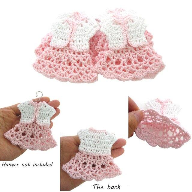 12 piezas mini vestido de crochet blanco, chaqueta de bebé ducha ...