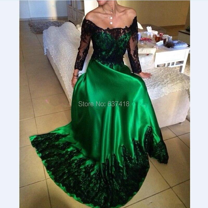 Vestidos verde con encaje negro