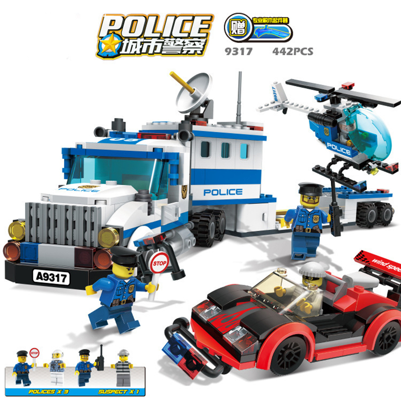 Police Station Model Building Kit Blocks Playmobil Helicopter Blocks DIY Bricks Educational Toys Compatible LegoINGS Police