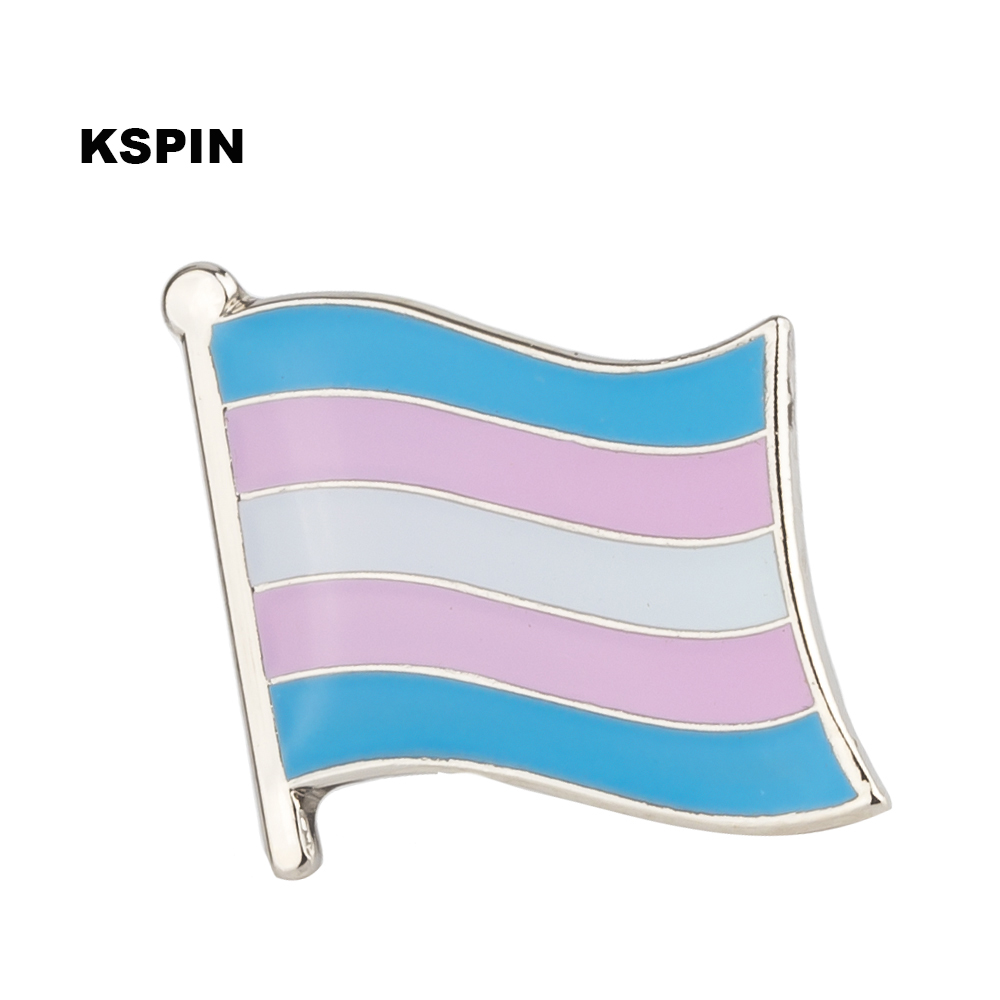 Transgender Flag Gay Pride Metal Pin Badge Set Square Buttons for Clothes 100pcs XY0325