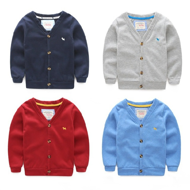 2015 Spring Autumn Children Computer Knitted Cardigan For Boy Girls V Neck Solid Color Baby Boys Sweater Girls Clothing Red Gray