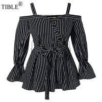 TIBLE Cotton Plus Size 5XL 4XL Open Shoulder Striped Peplum Blouse Korean Top Blusas Femininas Elegante Tunic Tops Cold Shoulder