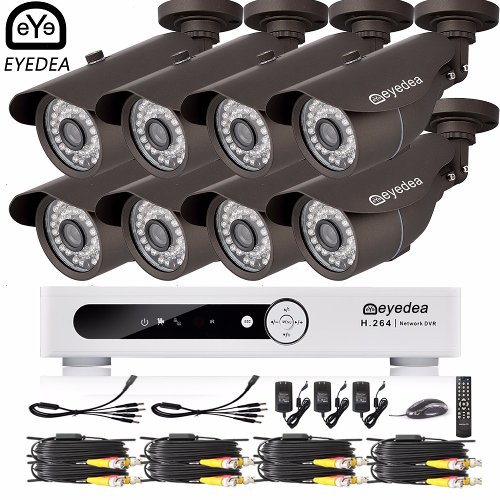 Eyedea 16 CH Phone Monitor Email Alarm Video DVR 1080P Bullet Outdoor LED Night Vision Surveillance CCTV Security Camera System eyedea 16ch video dvr recorder hd 1080p bullet black outdoor cmos night vision business cctv security camera surveillance system