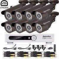 Eyedea 16 CH Phone Monitor Email Alarm Video DVR 1080P Bullet Outdoor LED Night Viison Surveillance