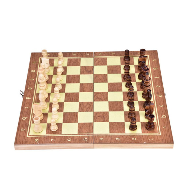 1Set Portable Foldable Wood Chess board Set Folding Wooden ChessBoard Game International Chess Set For Party Family Activities