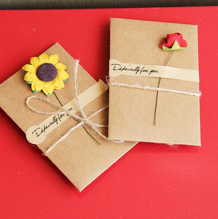 20set Lot Krean Stationery DIY Retro Envelope Kraft Paper Flowers Handmade Postcard Blessings Combination Greeting Cards1657 In Envelopes From Office