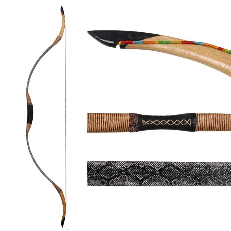 Xian an hunnish arco recurvo tradicional 140cm/55 polegada 30-55lbs caça arco de madeira arco durável da fibra de vidro