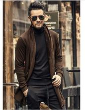 Brand casual Mens autumn long sweater coat knit cardigan jacket coat Korean sweater warm Slim Fit Men Thick Cardigan Jacket Coat