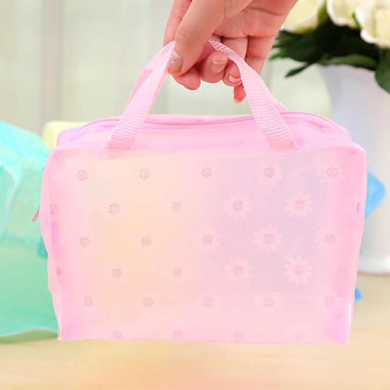 Fashion Makeup Bag PVC Floral Transparent Cosmetic Bag Toiletry Wash Make Up Bag Pouch Travel Necessarie Organizer Bag