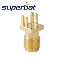 Superbat SMA Конец Запуска Jack женский PCB Mount Конец Запуска PCB Mount. 040 ''(1 мм) RF коаксиальный разъем 10 шт