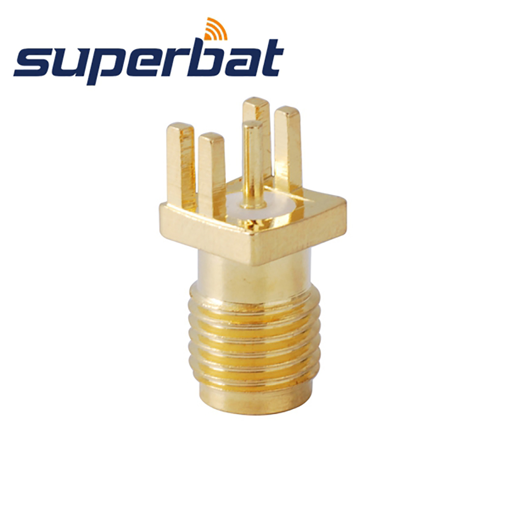 Superbat SMA End Launch Jack Female PCB Mount End Launch PCB Mount .040'' (1mm) RF Coaxial Connector 10pcs