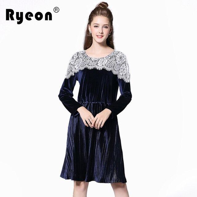 3471abd41c5 Ryeon Velvet Dress Lace Shoulder Autumn Winter Dress Plus Size Tunic Long  Sleeve Pleated Bottom Casual Vintage Office Dress 5xl