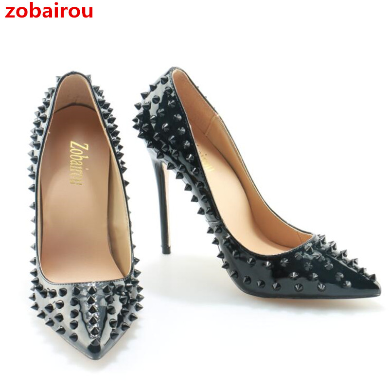 25012458ff Aliexpress.com : Buy Size 36 42 Promotion Women Pointed Toe Pumps High  Heels Rivets Studded Shoes Woman Stilettos Sexy Spikes Bride Wedding Shoes  from ...