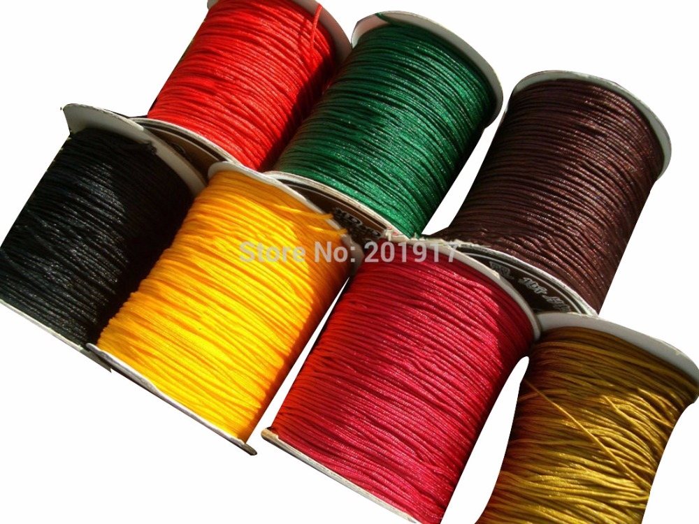 1mm Rattail Braid Nylon Cord Macrame Rope Shamballa Bracelet Beading Thread Chinese knot String Accessories 3500m=350m*10 Rolls