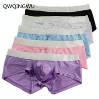 5PCS/Lot Male Underwear Bright Silky Men Underwear Cueca Boxer Short Calzoncillos Hombre Underpants Underwear Men Boxrs