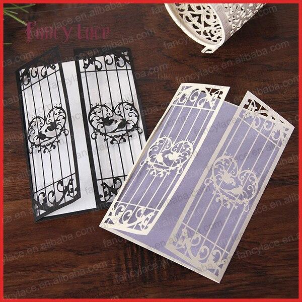 laser cut wedding invitations sets wedding love bird cage card