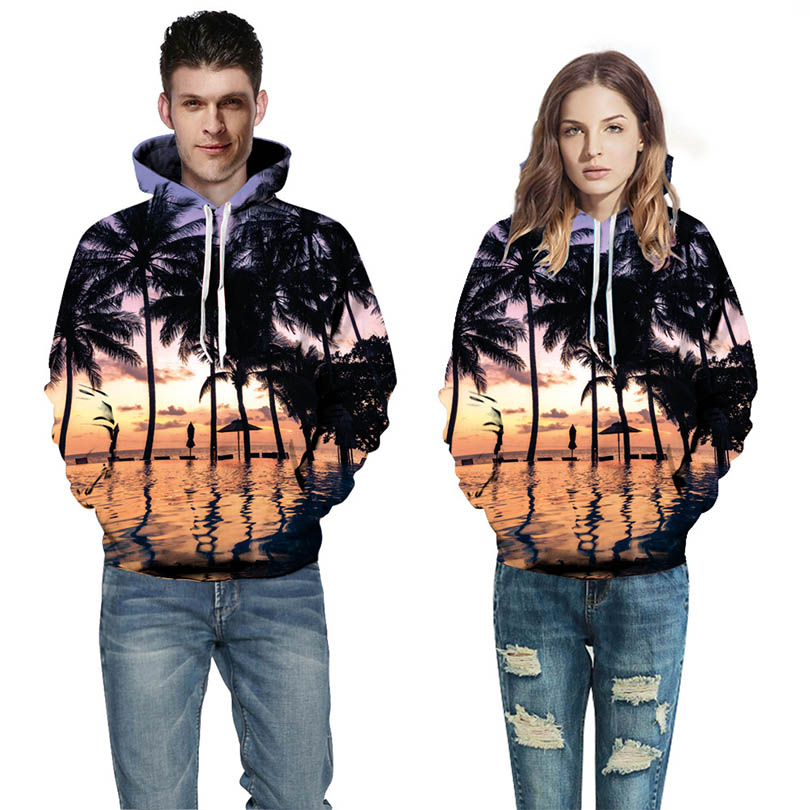 3d Printing Sweatshirts For Men/Women Coconut tree hooded loose sweatshirt pattern Hoodies Autumn Winter Loose Hoody Tops