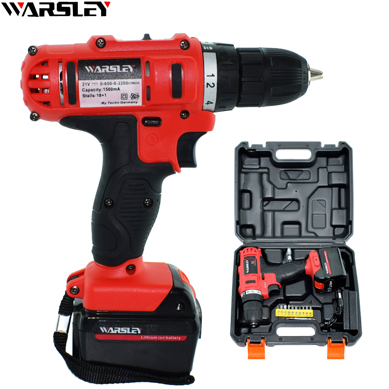 21V Lithium Battery Torque Rechargeable Screwdriver Mini Cordless Electric Drill Home Waterproof Power Tools Plastic Box EU Plug 2000mah rechargeable lithium battery pack for nds lite with screwdriver