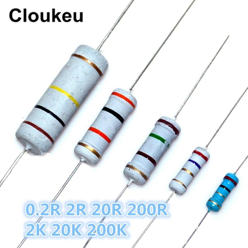 1/8W 1/4W 1/2W 1W 2W 3W 5W 1% 5% Color Ring Resistance 0.2R 2R 20R 200R 2K 20K 200K Ohm