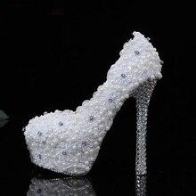 Herrliche Weiße Spitze Hochzeit High Heel Schuhe 12 cm Ferse Partei Abendkleid Schuhe Dame Braut Zubehör Weihnachten Hochzeit Geschenk
