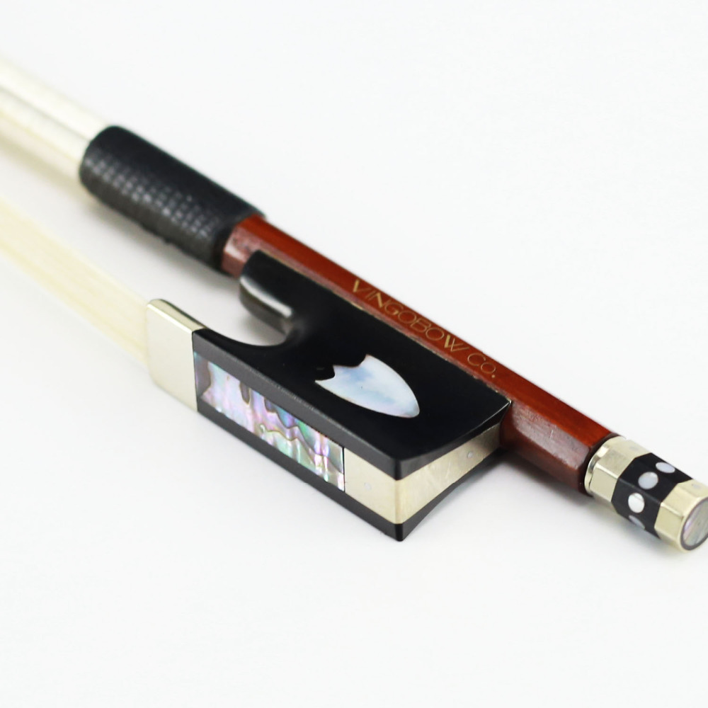 430V 4/4 ზომა VIOLIN BOW Pernambuco Stick Ebony Frog Nickel Silver Mounted Natural Mongolia Horsehair Violin ნაწილები აქსესუარები