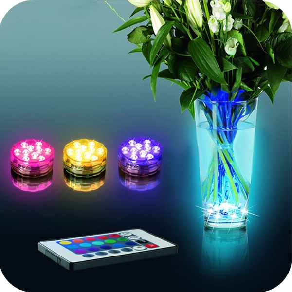Rgb Submersible Led Underwater Light 10leds Battery Operated Ip67 Waterproof Lamp Swimming Pool