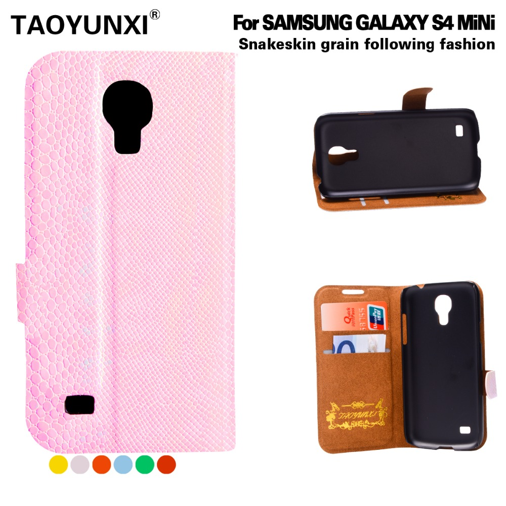 New Come Snake Phone Cases for Samsung Galaxy S4 mini I9190 PU Cell Phone Leather Case Wallet Style Cover Available