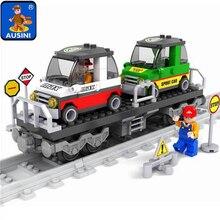 Model building kits compatible with lego train rails trafic 600 3D blocks Educational model building