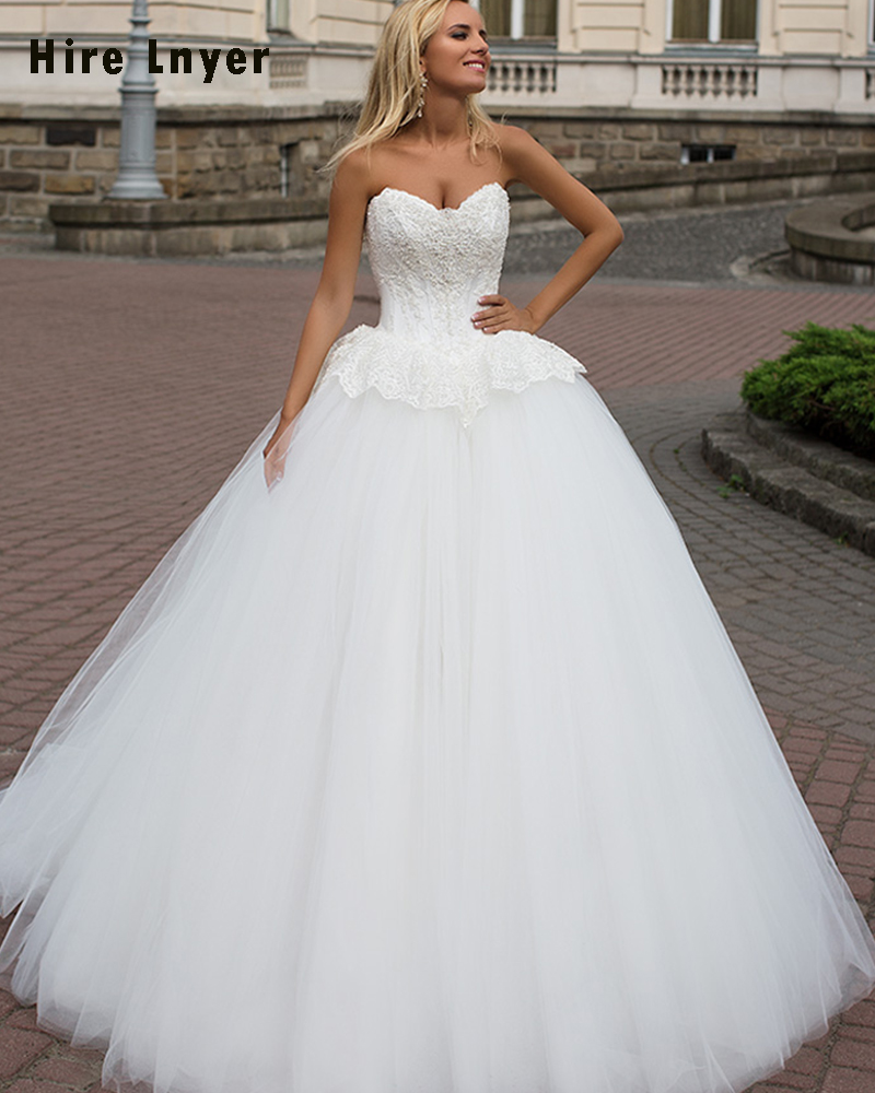 Wedding Ball Gowns Sweetheart Neckline: Vestido De Noiva 2019 Sweetheart Neck Lace Up Back