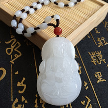 New Natural Afghanistan White Jades Pendant 3D Handmade Carved Guanyin Bodhisattva Mens Amulet Jewelry Pendants With Rope