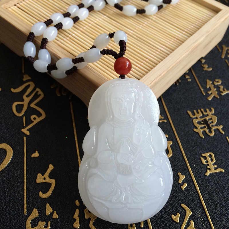 Nouveau naturel Afghanistan blanc Jades pendentif 3D fait à la main sculpté Guanyin Bodhisattva hommes amulette Jades bijoux pendentifs avec corde