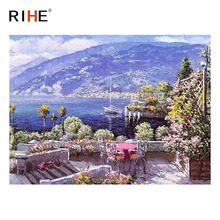 RIHE Sea Mountain DIY Painting By Numbers Kit, Framed Paint By Numbers on Canvas, Modern Wall Art Picture, Acrylic Paint 40x50cm rihe exquisite rose flowers framed oil painting by numbers coloring by numbers modern wall art picture home decoration 40x50cm