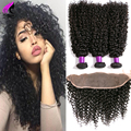 8A Lace Frontal Closure With Bundles Brazilian Kinky Curly Virgin Hair With Closure 3 Bundles Human Hair With Frontal Closure
