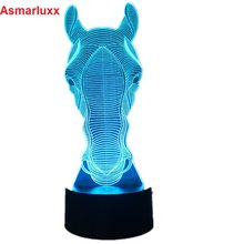 Horse Face Led light Holiday Atmosphere Decorative Car Toy Lighting Gadget LED Night Light 3D Illusion Lamp Light 7 Colors Gift(China)