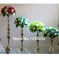 5 pcs Gold/Sliver Metal Candle Holder 40cm Tall Candle Stand For Wedding Event Candelabra Candle Stick Flower Vase ( NO flower)