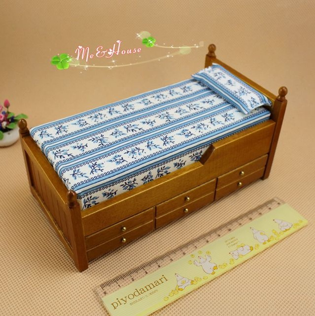 Mini doll house accessories mini furniture birch drawer <font><b>bed</b></font> children's <font><b>bed</b></font> dual color image