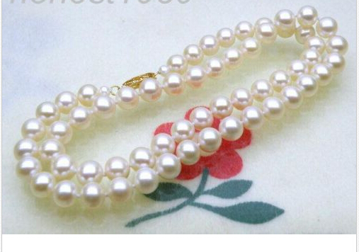 free shipping > Genuine 7-7.5mm AAA+ fine round white akoya pearl necklace free shipping 7mm aaa grade white akoya pearl necklace 6 07