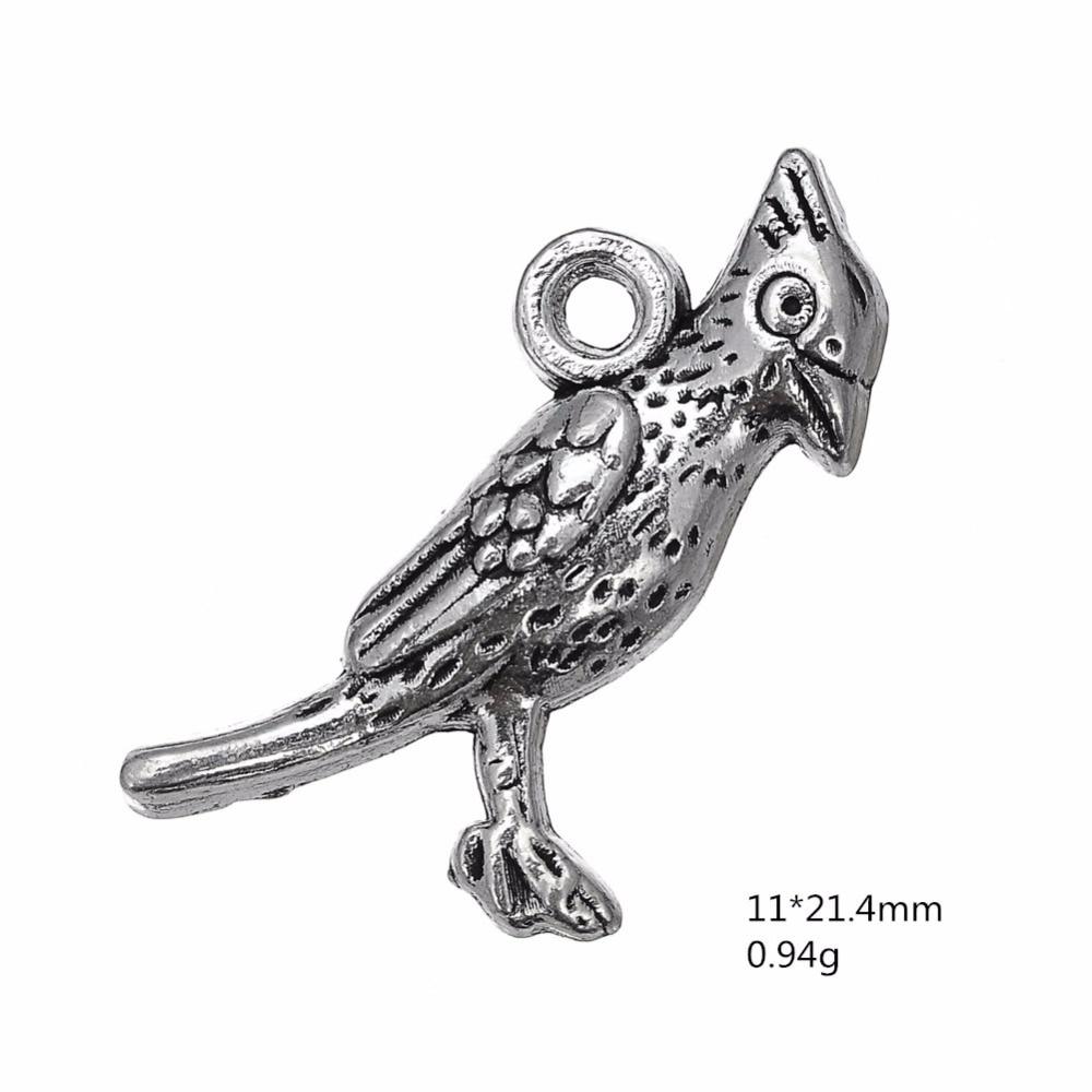 Free 50PCS Tibetan Silver Heart Bird Charms Pendant For Jewelry Making 19x15mm