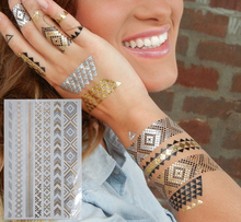 Selling Gold And Silver Flash Temporary Tattoos/Geometric Design Combination Jewelry Tattoo Stickers