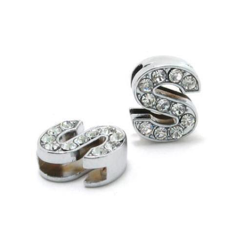 A-Z, 8 мм, стразы, кулон, буквы, подходят для DIY, подарок, шарм, кожаный браслет, браслет, пояс, ожерелье, ювелирные аксессуары - Окраска металла: S