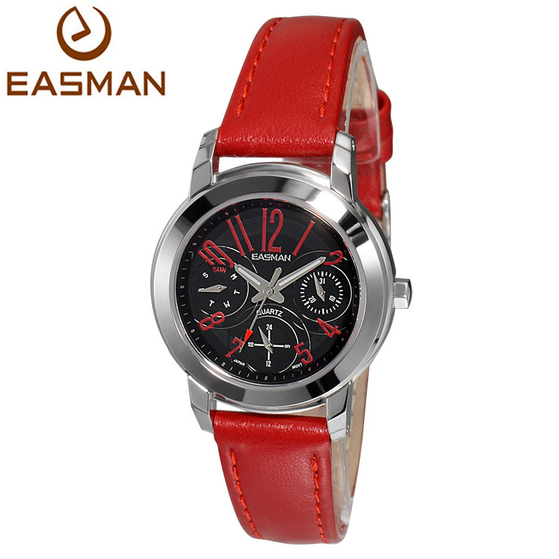 EASMAN Watch Women Lady Real 3 Dail Fashion Genuine Leather Sapphire Quartz Watch Women Brand Red