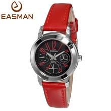 Easman часы женщины леди настоящее 3 дейл мода натуральной кожи сапфир кварцевые часы женщины бренд красный белый наручные часы горячие часы