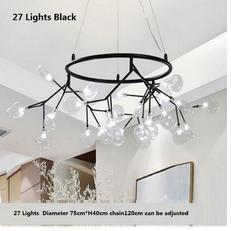 Lámpara de araña redonda moderna de luciérnaga LED con estilo lámpara colgante de rama de árbol araña circular decorativa colgante de Led - 5