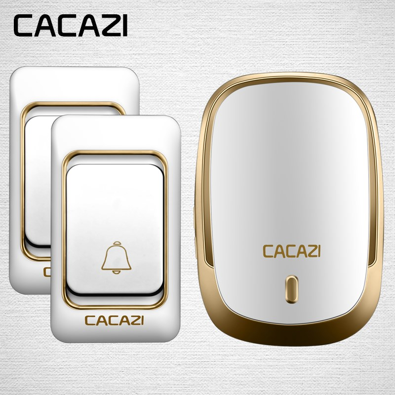CACAZI Wireless Waterproof Doorbell Long Range DC Button Battery Operated 200M Remote Calling Bell Rings 6 Volume Door 36 Chime cacazi white black long range wireless doorbell dc battery operated 300 m remote control doorbell rings 6 volume door chime 48
